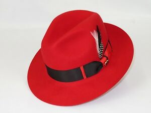 Mens Bruno Capelo Dress Hat Australian Wool Pinch Front Fedora Caesar Black Red
