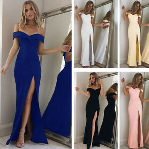 Women-039-s-Off-Shoulder-Dress-Bodycon-Evening-Party-Cocktail-Formal-Long-Dress-New