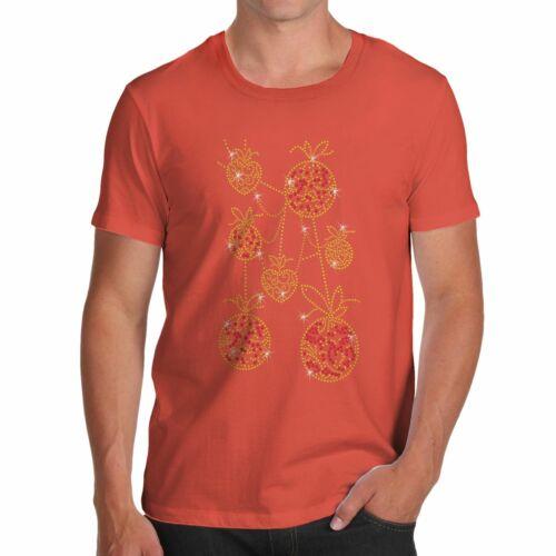 Twisted Envy Men/'s Swinging Baubles Rhinestone Diamante T-Shirt