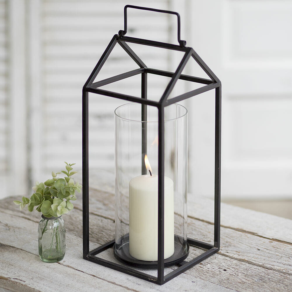 The Devon Metal & Glass Lantern With Handle for Pillar Candles 15.5  H