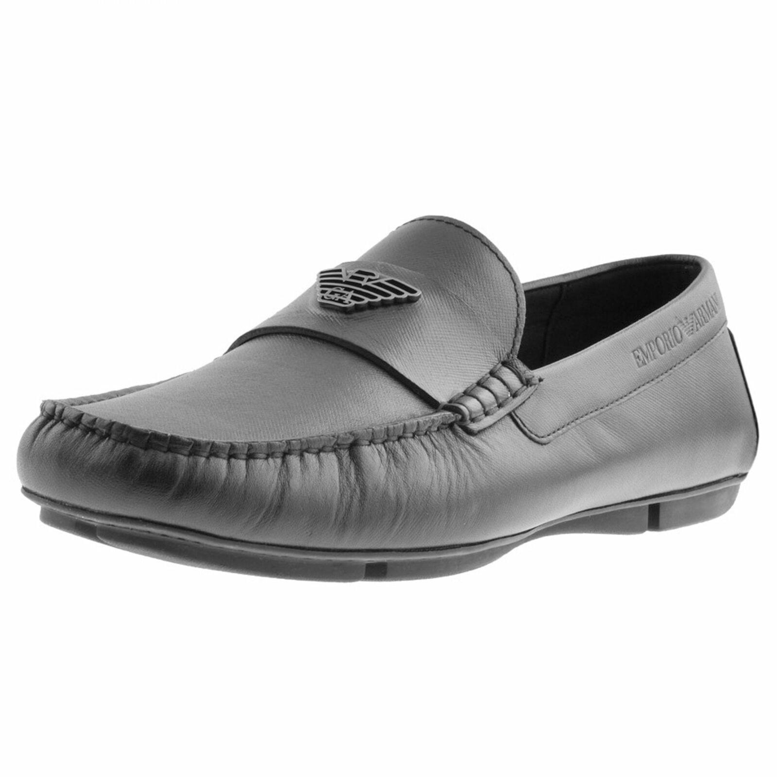 Emporio Armani Negro Cuero Sin Cordones Mocasín Zapatos X4B124 XF330