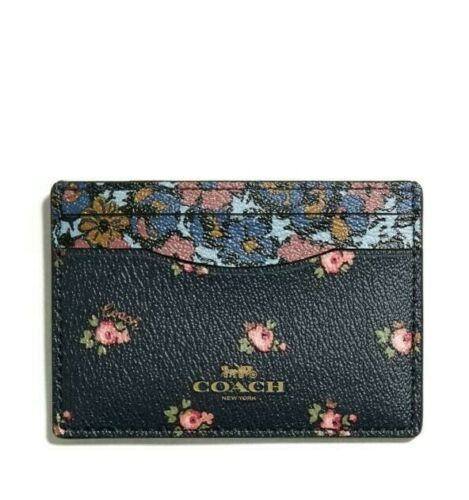 NEW Coach F58717 Card Case Ditsy Floral Print Pink Midnight Gift box NWT