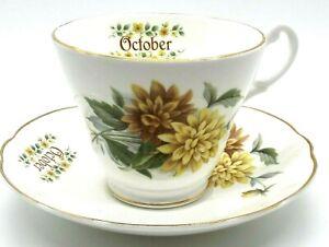 Vintage Royal Stuart October Teacup and Saucer Set Fine Bone China Hard to find