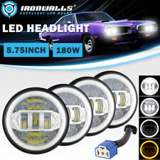 4pcs 5 34 575 Chrome Led Headlights Drl Angel Eyes Ring For 1966 1974 Dodge Fits 1972 Charger