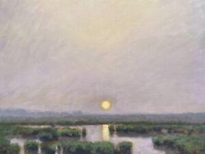 24x18 Sun Moody Skies Marsh Impressionism wetlands Landscape Art Oil Painting
