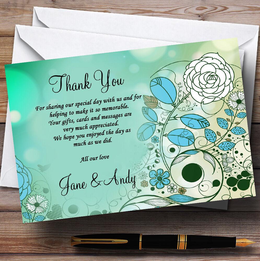 Aqua Turquoise Personalised Wedding Thank You Cards