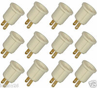 Lot Of 12 Adaptor 110v Outlet Socket Ac Plug To Standard Screw Base Light Bulb