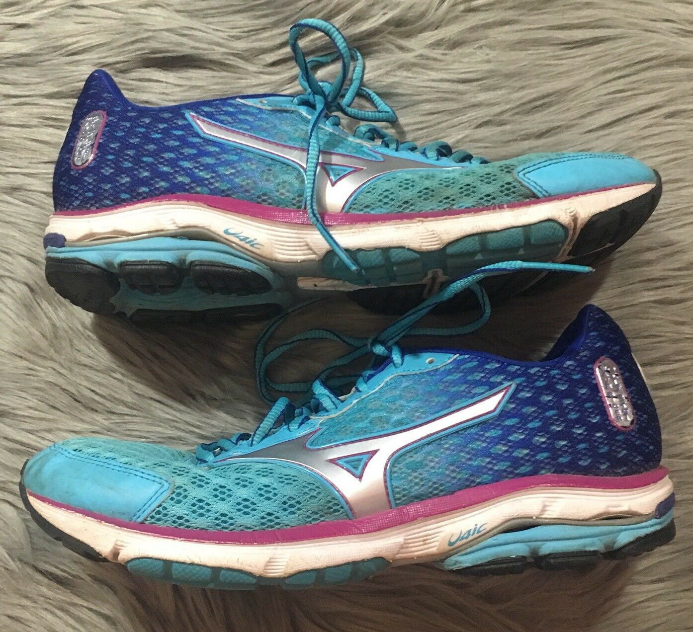 MIZUNO Wave Rider 18 Mesh Running shoes - Turquoise bluee Magenta - Women's W9