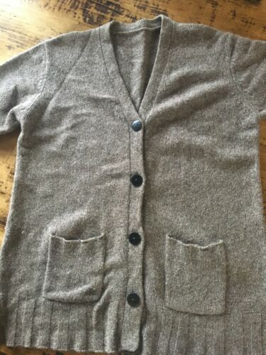 Gray/Light Brown Wool Button Up Cardigan, Babaa st