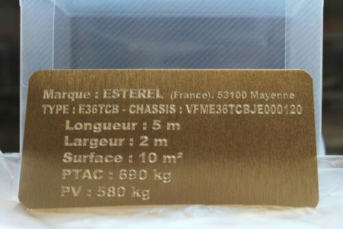 Gravure Plaque constructeur personnalisée texte PERSO alu Brossé