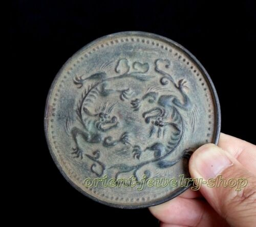China Handwork Dynasty Old Chinese Bronze mirror Statue 9cm Collectables!