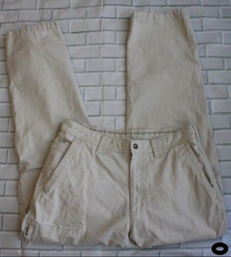Men's Columbia 0205 AM 8255 Hiking Outdoor Canvas Cargo Pants in Beige Sz 32
