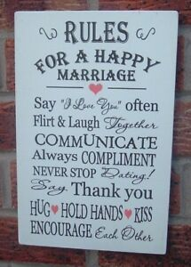 Rules For A Happy Marriage Wedding Gift 12x8 Wooden Plaque