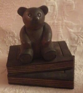 Details about Mandalay Box Company Wooden Teddy Bear Sitting on Books  Decoration 6