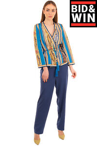 RRP-1510-ETRO-Silk-Kimono-Blouse-Size-42-M-Wrap-Front-Tassel-Details-Patterned