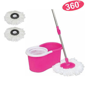 Microfiber-Spinning-Magic-Easy-Floor-Mop-with-Bucket-2-Heads-360-Rotating-Pink