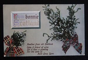 FROM-BONNIE-SCOTLAND-Vintage-Postcard-with-Heather-amp-Tartan-Ribbons-Unused