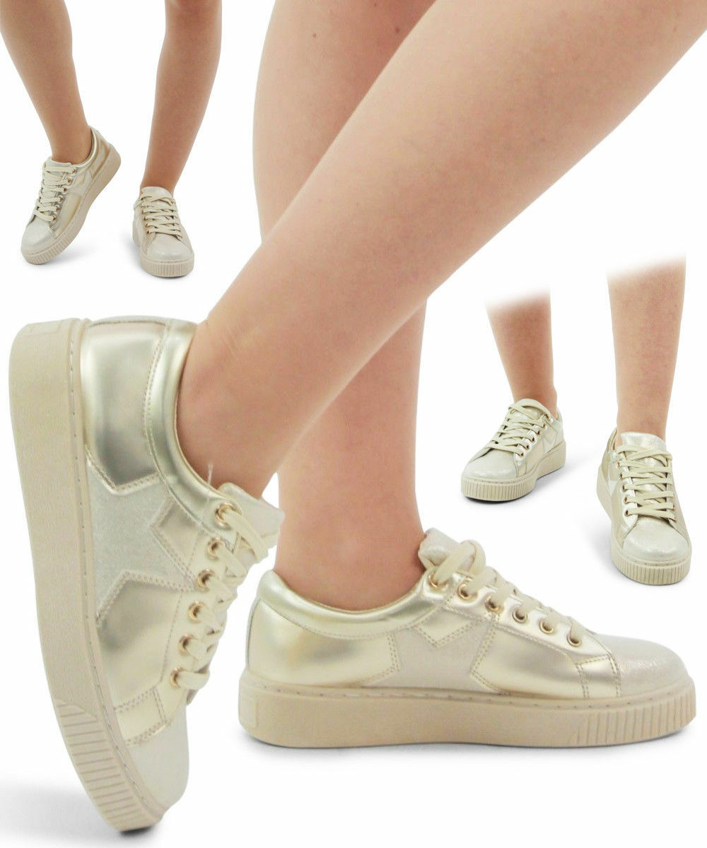 Ladies Women's Creeper Sneakers Lace Up Glitter Star 95 Premium Style Trainers