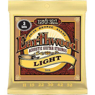 3-Pack Ernie Ball 2004 Earthwood Light Acoustic Guitar Strings 11-52 3004