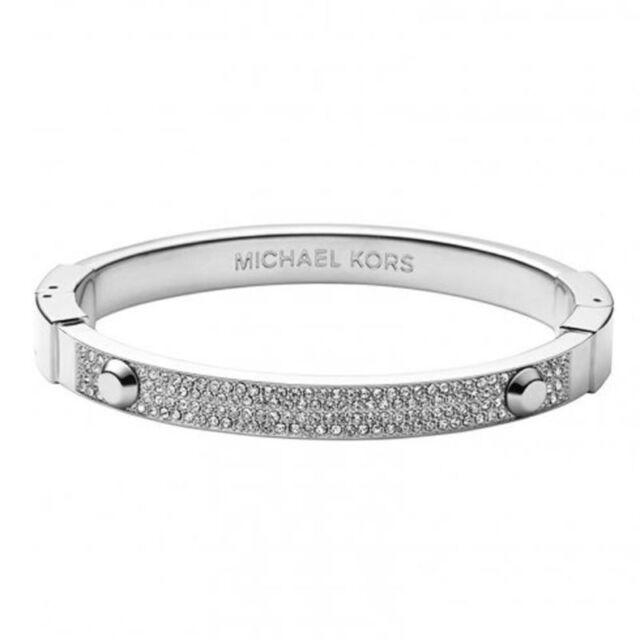 fb3ee59e4e053 Michael Kors Silver Tone Heritage Pave Crystal Bangle Bracelet Mkj2746040