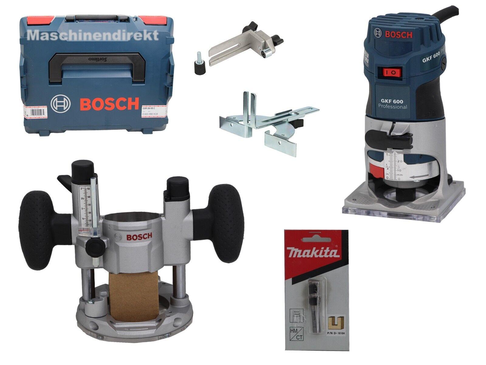 Bosch GKF 600 Kantenfräser +  TE 600 Systemzübehör + Makita D-10104 Nut Fräser