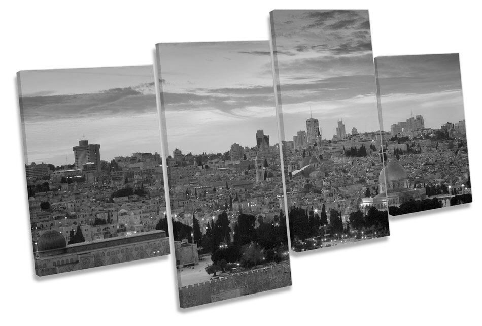 Jerusalem City Sunset B&W CANVAS WALL ART MULTI  Box Framed