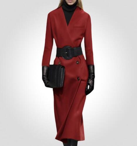 2xl Lang Outwear Parka Bælte Woolen Szs Breasted Trenchcoat Double V Kvinder hals dn7YqI