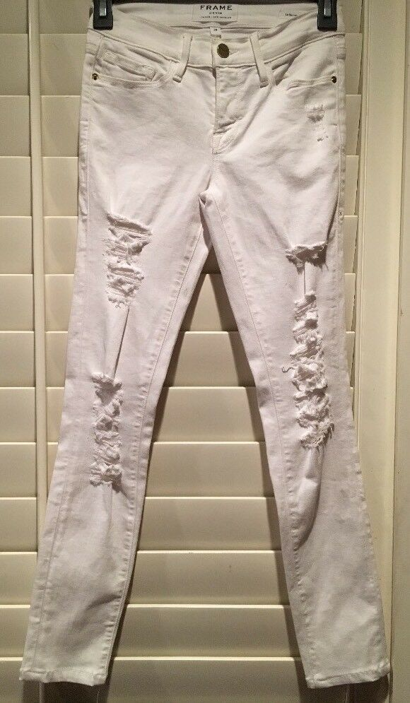 New  Frame Le Skinny de Jeanne distressed mid-rise white  White Jeans Sz 24