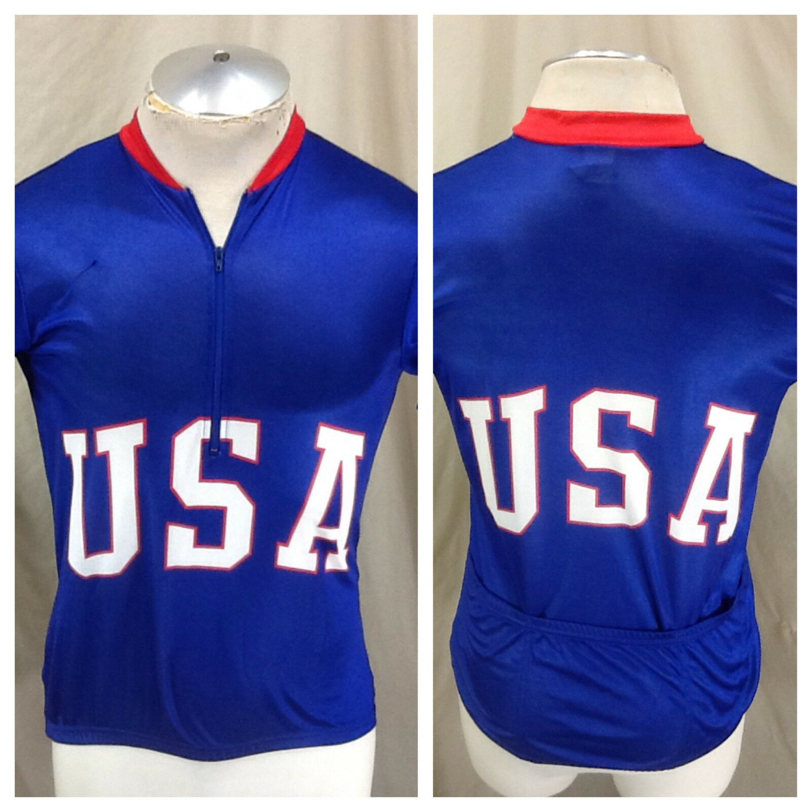 Vintage Canari Team USA Olympics (Medium) 1 2 Zip Up Cycling Race Wear Jersey