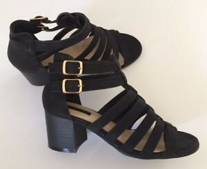 7db71073287 FOREVER21 Women s Black Ankle Strap Block Heel Strappy Sandals Shoes ...