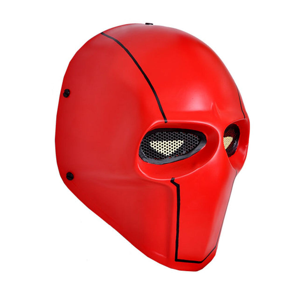 NEW Red Airsoft CS Paintball Full Face Wire Mesh Predection Skull Mask PROP M048