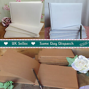 Plain Blank DIY WEDDING GUEST BOOK In White Ivory Or Kraft Brown Finish
