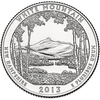 "NH /""ATB/"" NATIONAL PARK QUARTER P or D MINT 1-COIN BU FREE S 2013 WHITE MOUNTAIN"