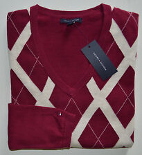NWT Womens TOMMY HILFIGER Argyle Long Sleeve Pullover Sweater, V-Neck, M, Medium