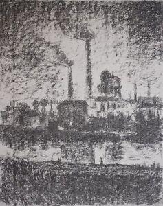 Fabbrica/fabbrica impianto sul fiume litografia hand-firmato da Monk (?) - > foto