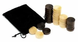 1.50 inch Wood Backgammon or Checkers pieces - 30 pieces with Bag