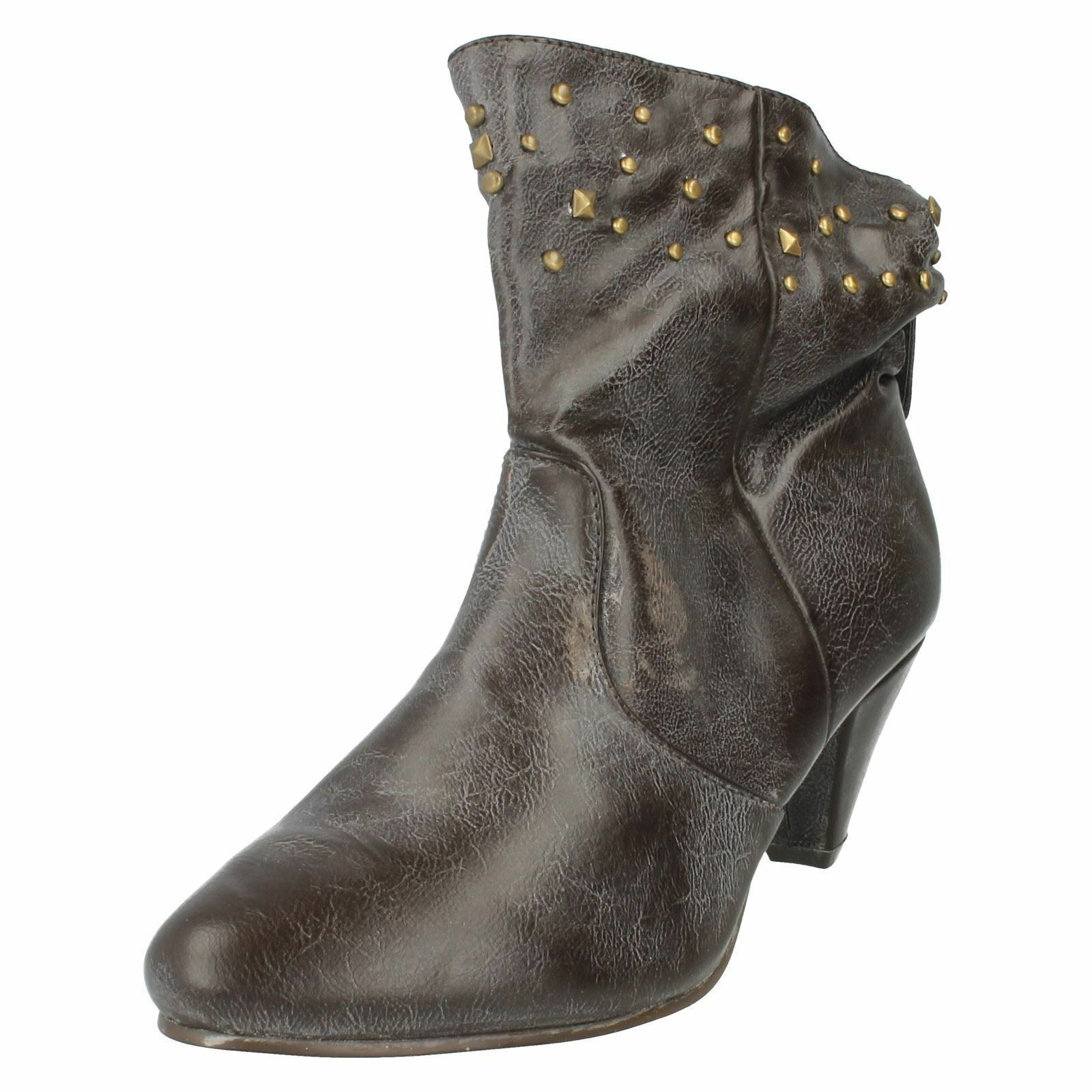 LADIES SPOT ON SLIP ON KITTEN HEEL BROWN WINTER CASUAL ANKLE BOOTS SHOES F5656