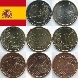 Spanien Euromünzen von 1999 bis 2021, unzirkuliert/bankfrisch