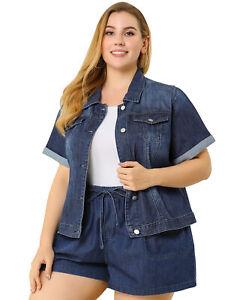 Women's Plus Size Denim Jacket Button Crop Short Sleeve Jackets