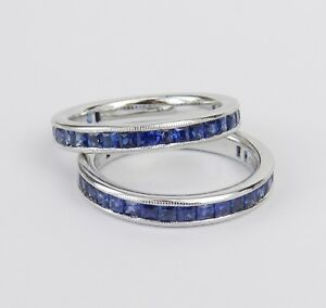 2ct-Princess-Cut-Blue-Sapphire-Couple-Band-Dual-Wedding-Ring-14k-White-Gold-Over