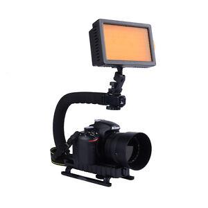 160LED Video Light+C/U Shape Bracket Handle Grip Stabilizer For Camera Camcorder