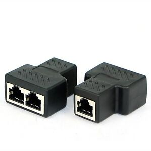 1 To 2 RJ45 Ethernet Connector Splitter Adapter Network Sockets Connector US