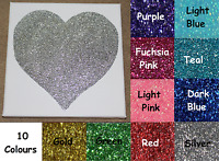 Glitter Sparkly Love Heart Canvas Wall Art Picture - 10 Colours