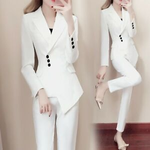2pcs Women S Suits Slim Lapel Blazer Vogue Jacket Formal Coat Long Pencil Pants Ebay