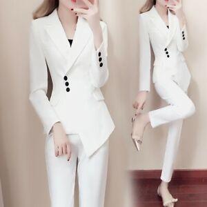 2pcs Women S Suits Slim Lapel Blazer Vogue Jacket Formal Coat Long Pencil Pants Ebay