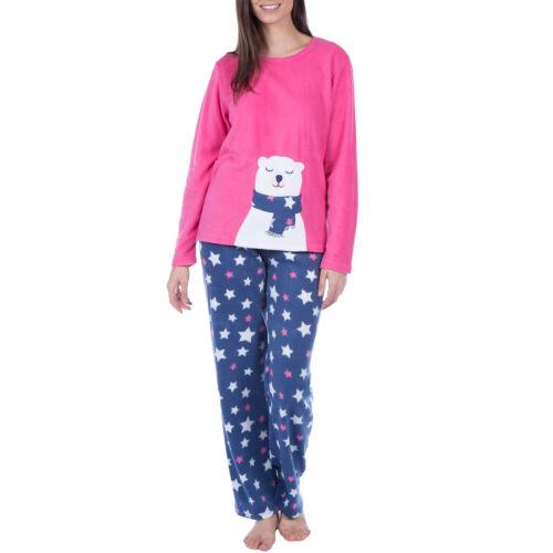 16TO18 Selena Secrets Womens Fleece Long Sleeve Soft Pyjama Set Polar bear