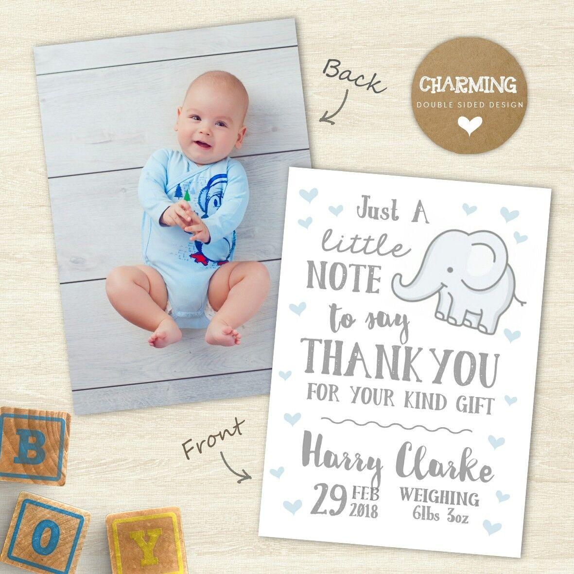 Nouveau THANK Bébé RemercieHommes t, imprimé recto verso, Bébé Garçon/Fille THANK Nouveau YOU Cartes ad7f6d