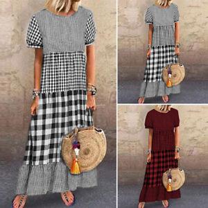 ZANZEA-Womens-Casual-Check-Plaid-Maxi-Dress-Short-Sleeve-O-Neck-Kaftan-Dresses