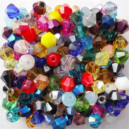 650pcs 3mm 4mm 6mm 8mm Beads Loose Crystal Bicone Glass Faceted Bracelet Jewelry