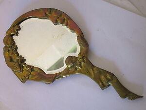 Miroir face main ancien en bronze pierrot la lune ebay for Miroir sur la lune